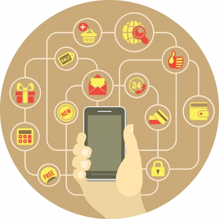 Conceptual round illustration of shopping in Internet using smart phone Vector