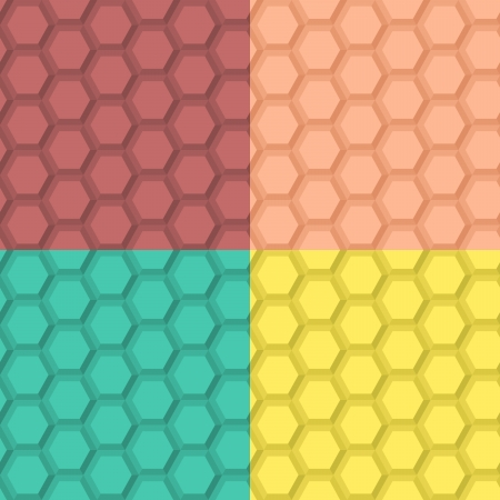 Flat seamless hexagonal  pattern in four color combinations Vector