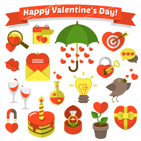 Set of various flat love symbols for Valentine s Day with greeting label