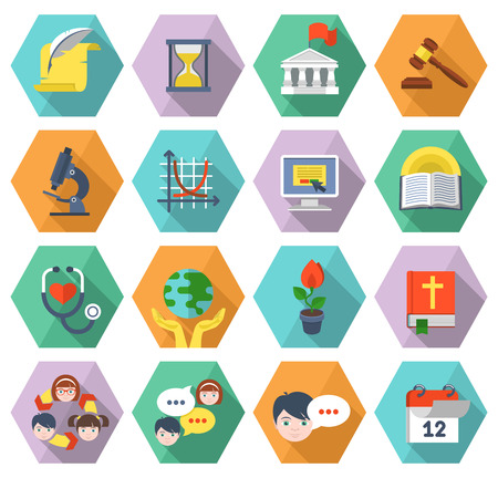history books: Set of modern flat educational icons of different subjects and concepts in multicolored hexagons with long shadows Illustration