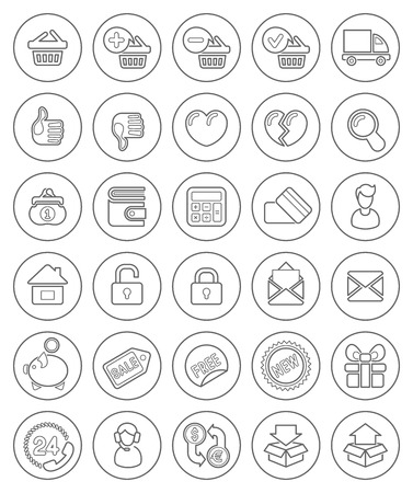 e wallet: Set of round outline shopping icons