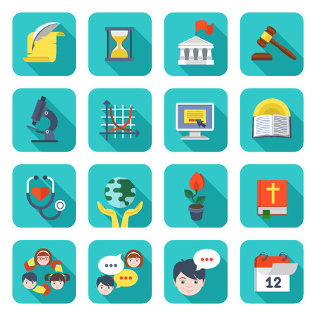 Set of square flat educational icons of different subjects and concepts Vector