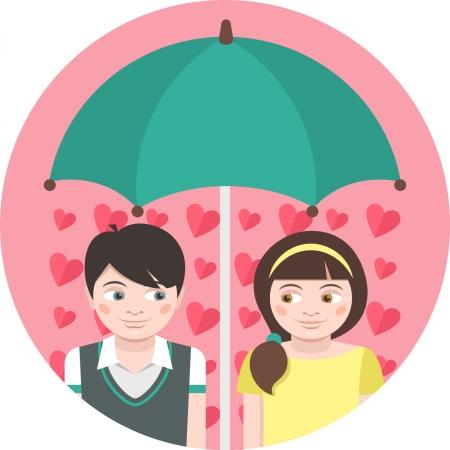 Round illustration of children in love under an umbrella Vector
