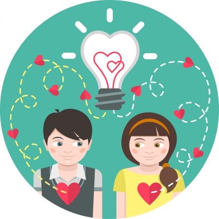 the first love: Ilustraci�n Ronda de amor a primera vista con una bombilla y trazas de corazones