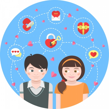 Conceptual illustration of children in love with dating symbols Vector