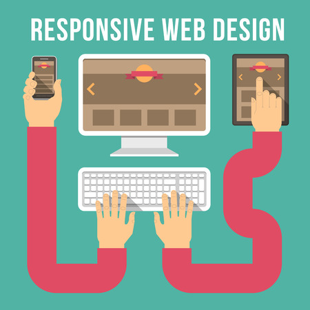 Concettuale illustrazione vettoriale di responsive web design con computer, tablet e smart phone collegato con le mani