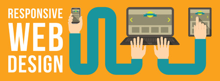 Horizontal conceptual illustration of responsive web design with a laptop, a tablet and a smart phone connected with hands