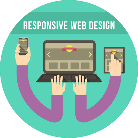 Conceptual round illustration of responsive web design with tablet, tablet and smart phone connected with hands Illustration