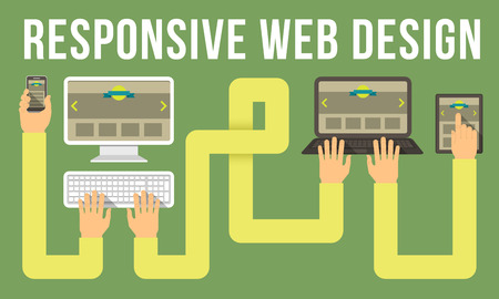 Horizontal conceptual illustration of responsive web design with a computer, laptop, tablet and smart phone connected with hands Vector