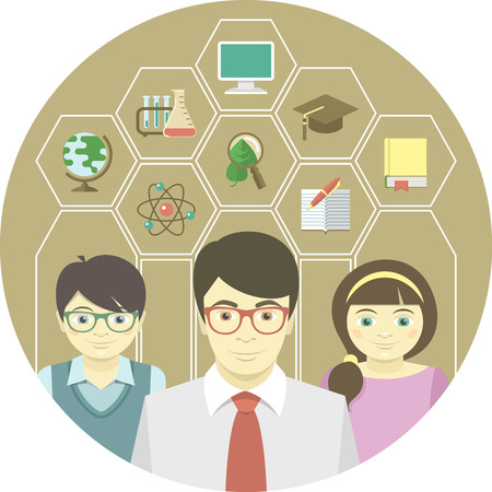 Teacher and pupils with education icons in hexagons Vector
