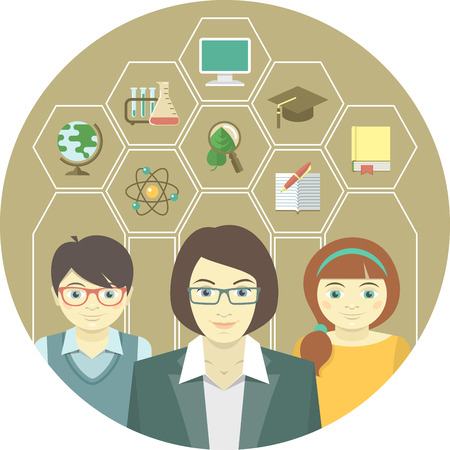 Woman teacher and pupils with education icons in hexagons