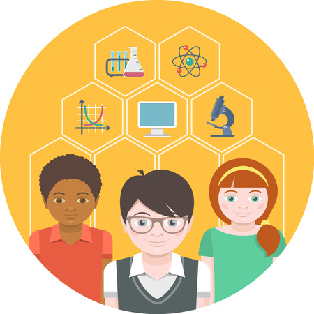 Conceptual illustration of children with different symbols of sciences Vector