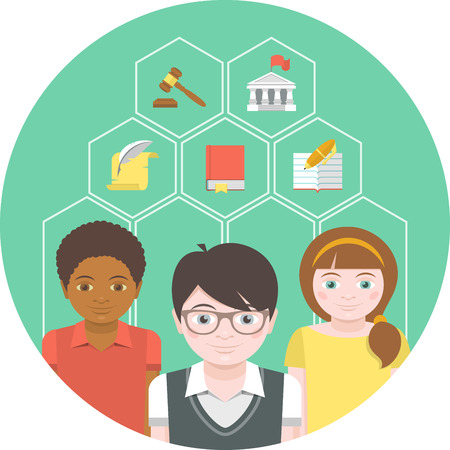 citizenship: Conceptual illustration of children with different symbols of humanities
