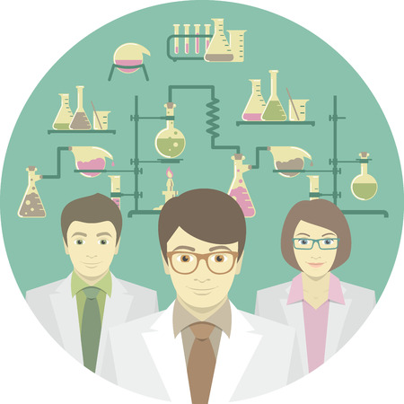 Flat conceptual illustration of scientists in the chemical laboratory Vector