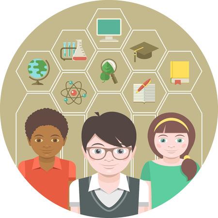 Modern flat illustration of children with different school symbols Ilustração