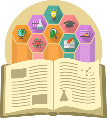 Modern flat illustration of a book as the source of knowledge with different educational symbols Illustration