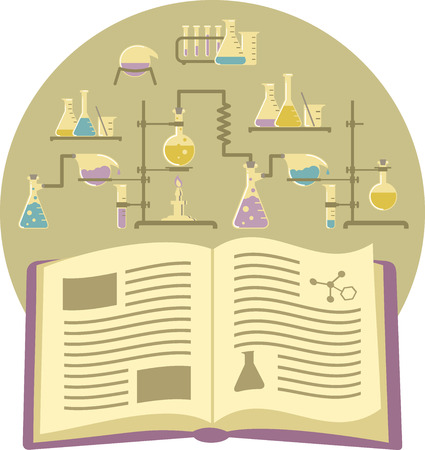 pharmacology: Flat conceptual illustration of a textbook on the background of chemical equipment