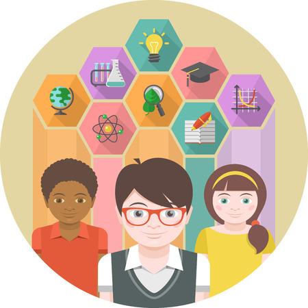 Conceptual illustration of children with different symbols of sciences in colored hexagons Vector