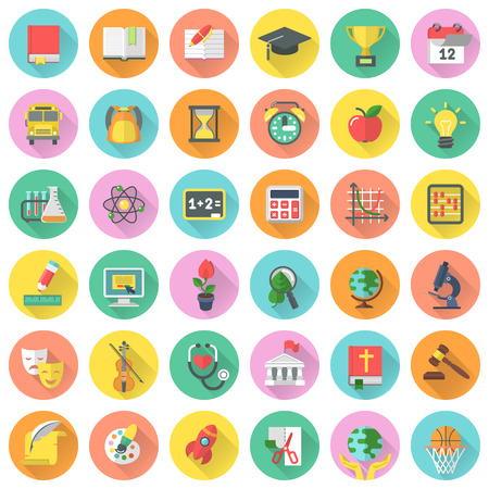 flat brush: Flat school subjects icons in circles with long shadows