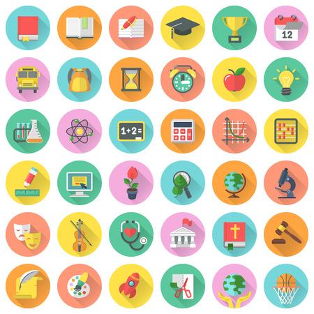 Flat schoolvakken iconen in cirkels met lange schaduwen