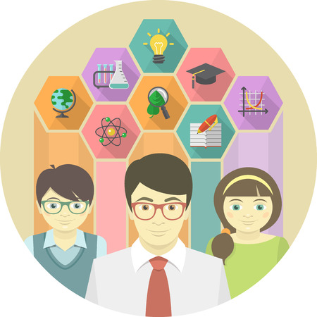 Man Teacher and Pupils with Education Icons Vector