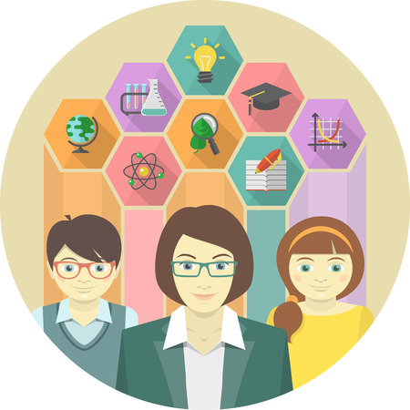 Woman Teacher and Pupils with Education Icons Vector