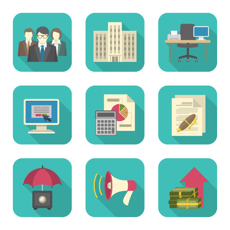 Set of modern flat icons suitable for theme of business costs