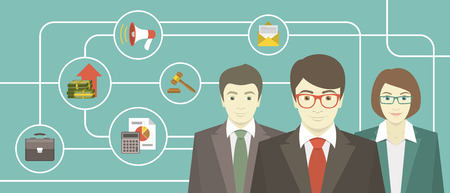 starting a business: Conceptual illustration of the team of professionals with various business icons