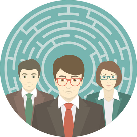 Conceptual round illustration of the team of young promising professionals in labyrinth Vector