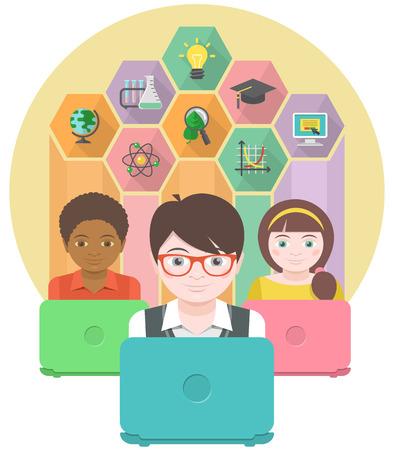 컴퓨터를 사용하여 어린이의 현대 교육의 개념적 그림 일러스트