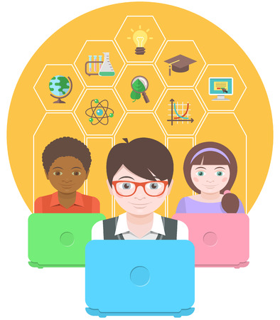 Conceptual flat illustration of the modern education of children by using computers