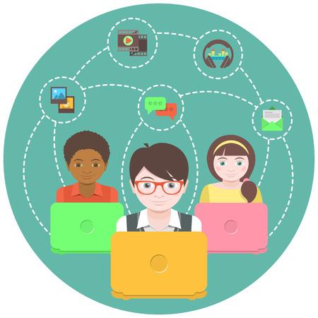 インターネット上のマルチ メディアの情報を共有するノート パソコンを持つ子どもの概念図  イラスト・ベクター素材