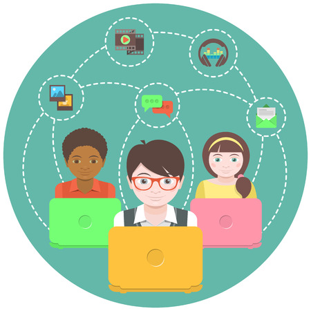 Conceptual illustration of children with laptops that share multimedia information on the Internet Vector