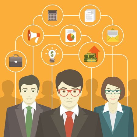 ビジネスの専門家のコンサルティングのチームワーク  イラスト・ベクター素材