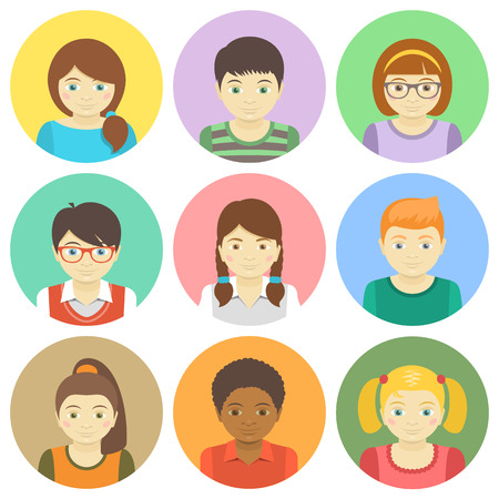 Set of round flat avatars of different boys and girls Vector