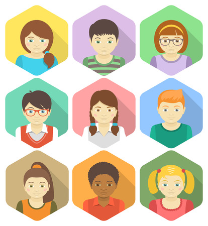 Set of flat avatars of different boys and girls in hexagons with long shadows