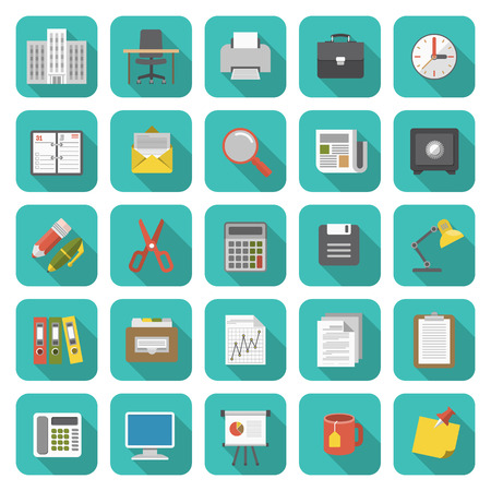Set of modern flat office icons with long shadows