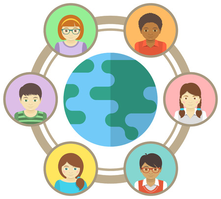 Conceptual illustration of multiracial children connected around the world Vector