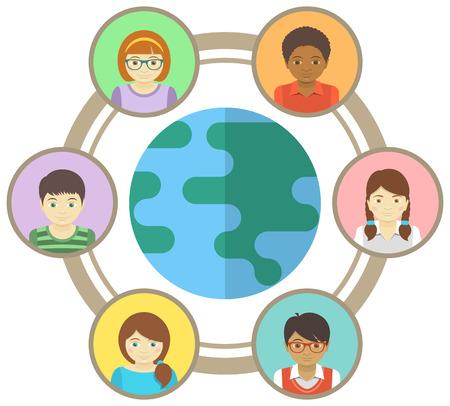niños de diferentes razas: Ilustración conceptual de los niños multirraciales conectados en todo el mundo