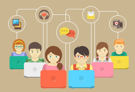 Conceptual illustration of children with laptops sharing multimedia information Иллюстрация