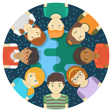 cartoon world: Conceptual round illustration of multiracial children on the background of the Earth and the starry sky