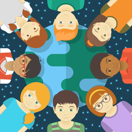 niños de diferentes razas: Ilustración plaza conceptual de los niños multirraciales en el fondo de la tierra y el cielo estrellado