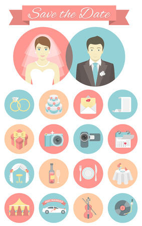 Sada moderních plochých kulatých ikon na svatbu Ilustrace