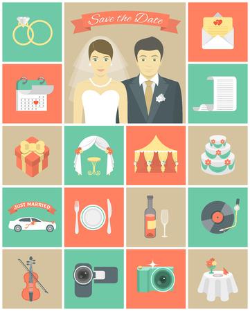 Set of modern flat square wedding icons