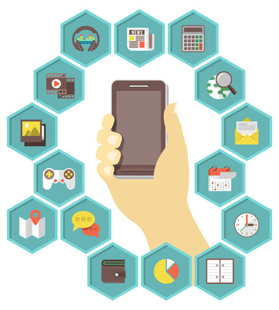 Conceptual illustration of a mobile phone with icons of different types of applications in hexagons