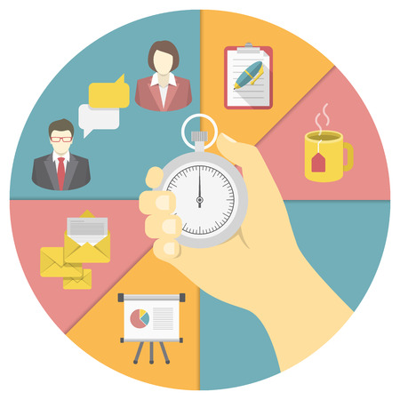 organizing: Conceptual illustration of the time management with a stopwatch in a hand and working activity symbols