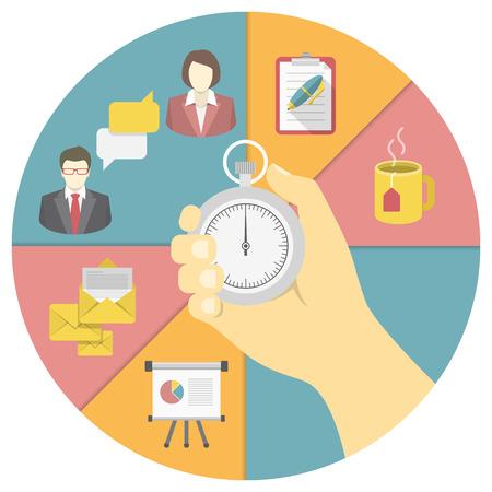 productividad: Ilustración conceptual de la gestión del tiempo con un cronómetro en una mano y los símbolos de actividad de trabajo