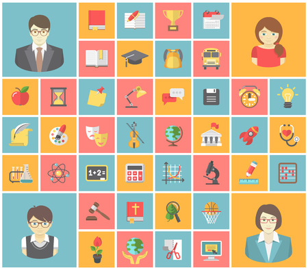 Modern flat square icons of school subjects, teachers and pupils  Illustration