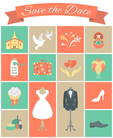 Set of modern flat square wedding icons Vector