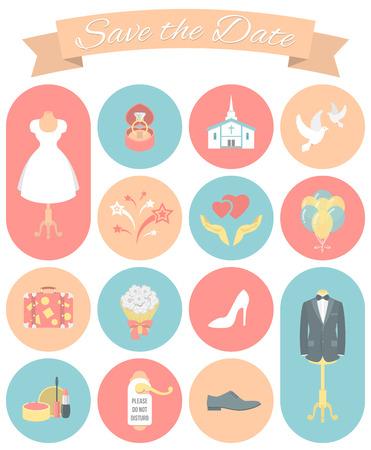 Set of modern flat round wedding icons